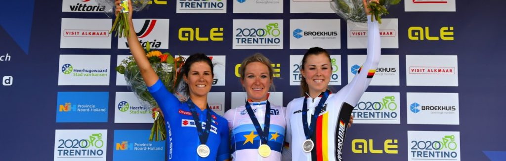 Womens Elite podium:  Cecchini , Pieters, Klein