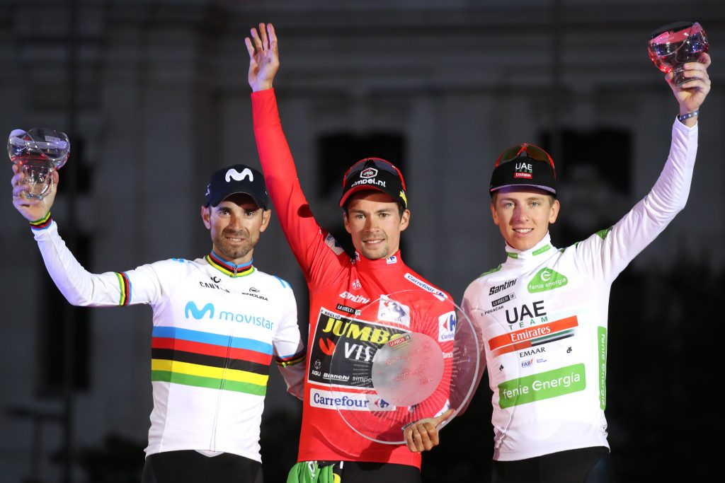 Cycling: Vuelta Espana 2019 PODIUM: Winner  Primoz ROGLIC  (SLO), 2nd   Alejandro VALVERDE  (ESP) 3rd and winner of the best young rider jersey Tadej  POGACAR (SLO)